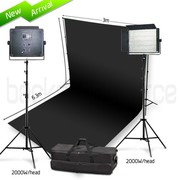 Two Head 2000W Bi-Color LED Professional Video Lighting Kit with Black