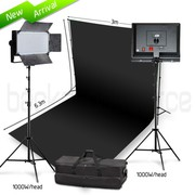 Two Head 1000W LED Professional Video Lighting Kit with Black Backdrop