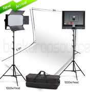 Two Head 1000W LED Professional Video Lighting Kit with White Backdrop