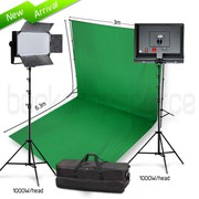 Two Head 1000W LED Professional Video Lighting Kit with Green Backdrop