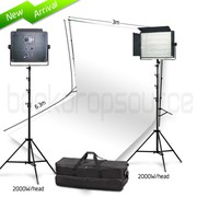 Two Head 2000W Bi-Color LED Professional Video Lighting Kit with White