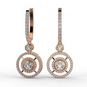 18K Rose Gold Modern Double Halo Diamond Drop Earrings