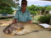 Robyn Coates gets a 94 cm Barra. Excellent catch